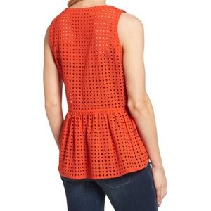 Halogen Tops - Halogen Orange Eyelet Peplum Top